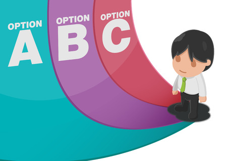 Man Determine Way Choice Presentation Vector
