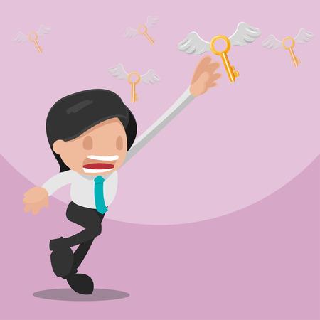 escape key: Man Worker Grab Gold Key Vector