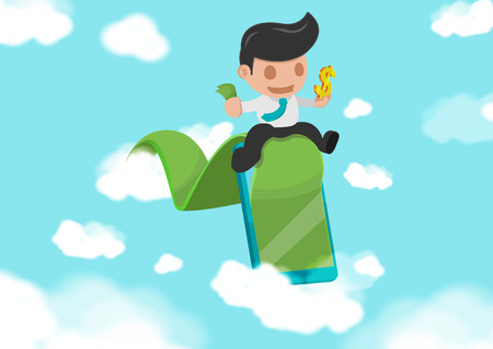 road to success: Business Man Green Road success Cloud Vector