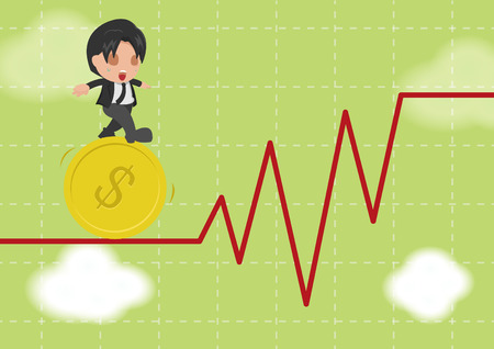 tightrope walker: Business Man Walk Gymnastics Risky Stock Market Vector