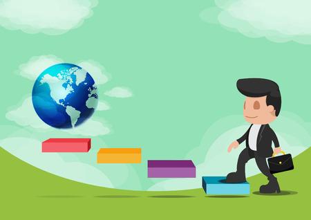 work worker workforce world: Business Man Walk Go World Success Vector