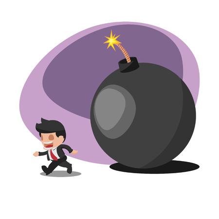 run away: Business Man Worker  Run away  Bomb Vector