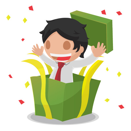 gift box open: Man Gift Box Open Surprised Vector