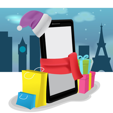 shoping: Smartphone Mobile Shoping Buy Sale Vector Illustration