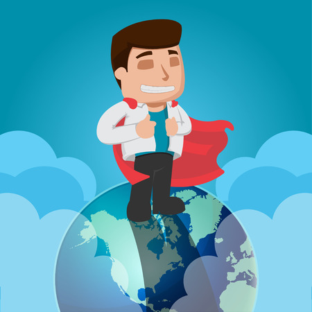 top of the world: Business Man Worker Top World Vector