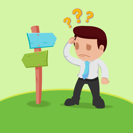 to determine: Businessman Choice Determine Way Confused Vector
