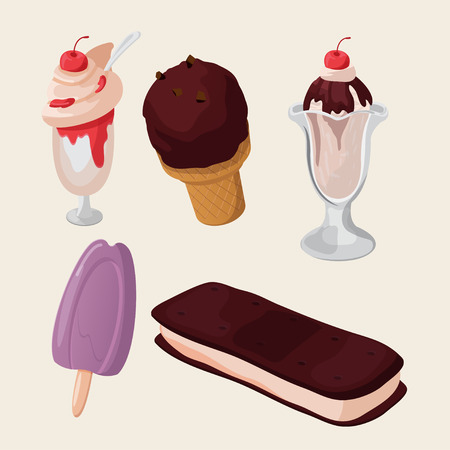 sweety: Ice cream Cute Sweety  Isolated Set Vector Illustration