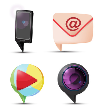 mail icon: Mobile Mail Camera Play Icon Vector Illustration