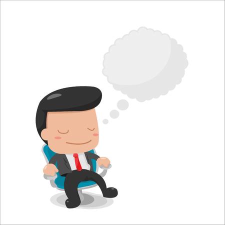 Pensando hombre se sienta el vector Buble texto