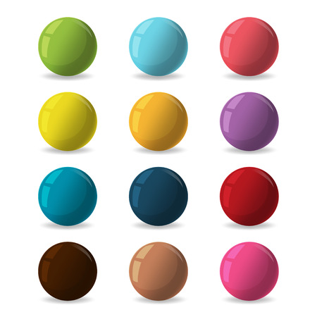color balls: Color Balls Diverse Reflect Different Vector Illustration