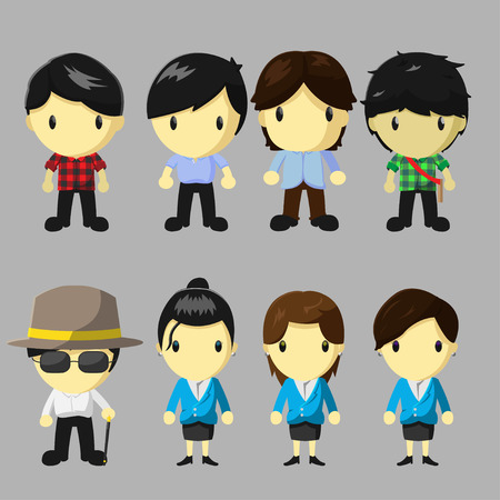 character of people: Character People Cartoon Cute Set Vector Illustration