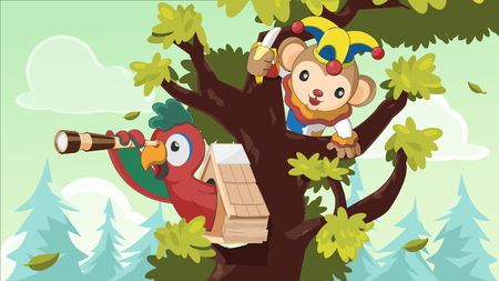 clamber: Pilot Monkey Tree Forest Search Vector