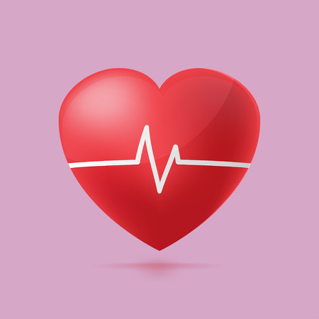 hearty: Red Heart Beat Graph Hospital vector