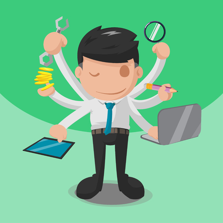 multitask: Worker Multitask Business Finance Hand Vector Illustration