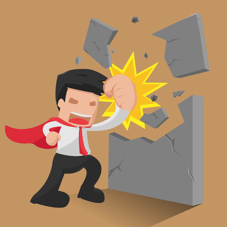 man standing: Man Hero Worker Punch Wall Vector
