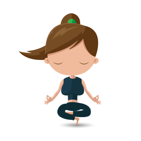 healthy girl: Women Yoga Health Exercise Cartoon Vector Illustration