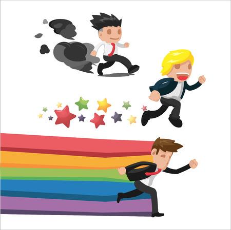 haste: Man Fantasy Run Cartoon Concept Vector Illustration