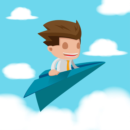 unreliable: Man Business Fly Paper Plane Vector Illustration