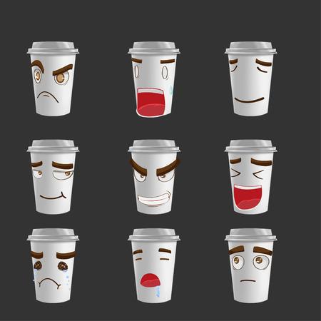 shapes cartoon: Cartoon Coffee Mug Emotion Face Vector