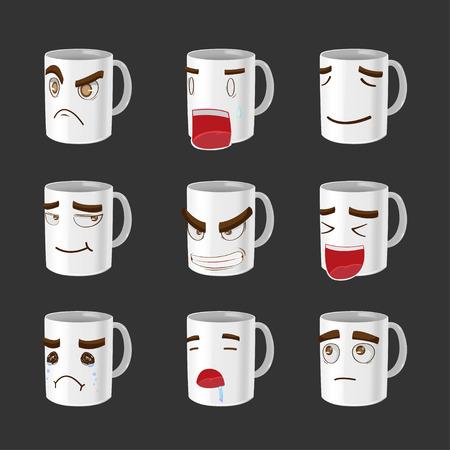 cartoon mouth: Cartoon Mug Emotion Face Cute Vector