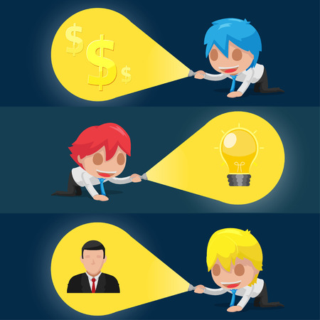 financial advisors: Character Flashlight Search Business Icon Vector