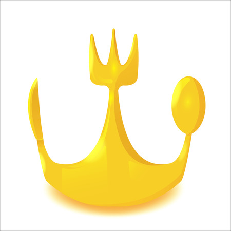 knife and fork: Gold Crown Spoon Knife Fork Vector Illustration