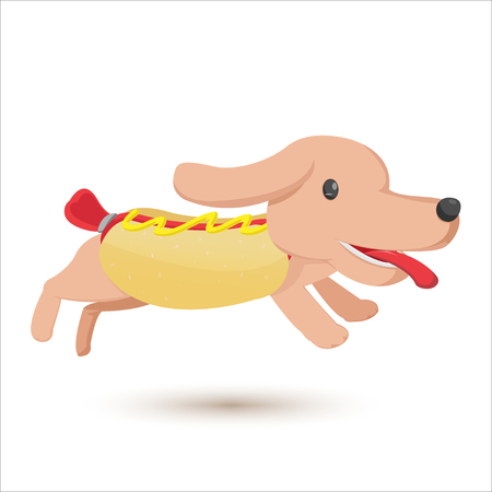 dog eating: Hotdog Cartoon Comic Cute Style Vector Illustration
