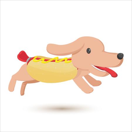 Hotdog Cartoon Comic Cute Style Vector Illustration