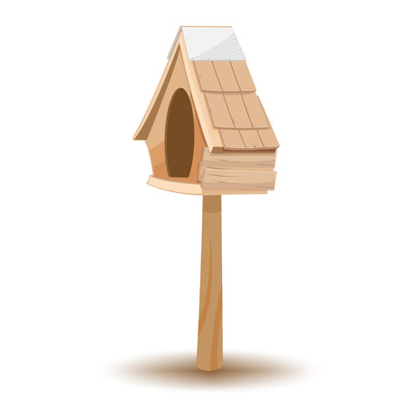 wood craft: Oak Wood Small Old House Vector