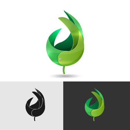 leaves green: Leaf Abstract Icon Symbol Vector