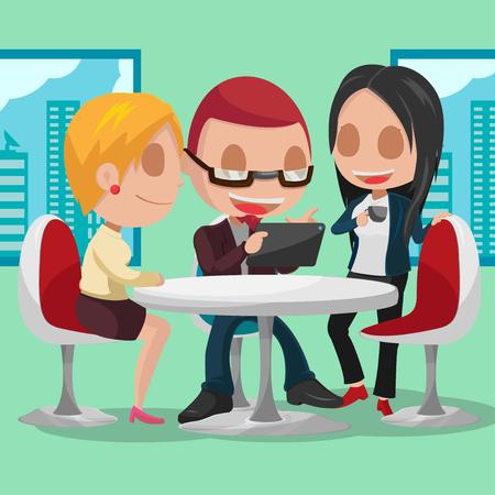 business meeting: Business Group Cartoon Character Meeting Vector