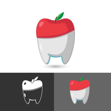 manzana verde: Dental del dentista del s�mbolo del icono de Apple Vectores