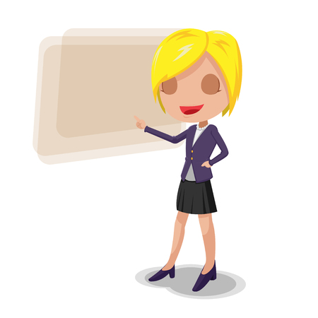 woman pointing up: Woman Worker Cartoon Character Presentation Illustration
