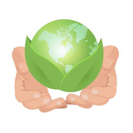 hold: Hand Hold Green Earth Leaf Illustration