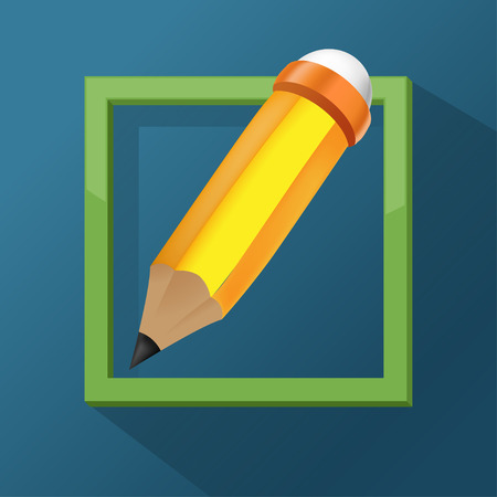 define: Pencil Frame Icon Symbol Design
