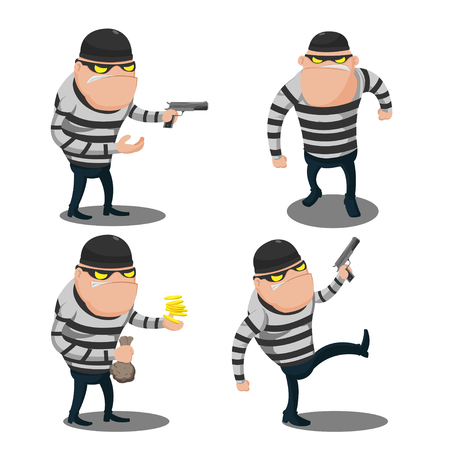 swindler: Big Thief Steal Cartoon Character Illustration
