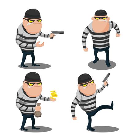 looting: Big Thief Steal Cartoon Character Illustration