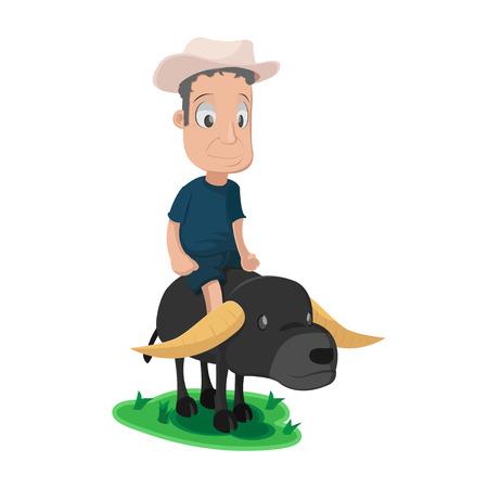 asian farmer: Asian Farmer Buffalo Cute Character Vector