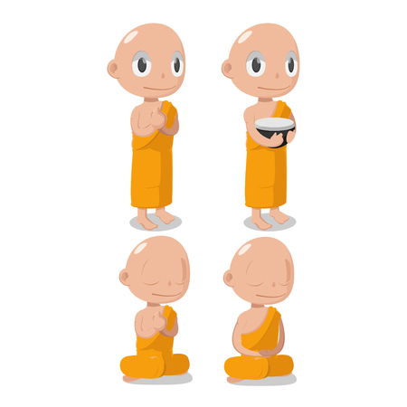 introspection: Monk Buddha Cartoon Cute Character Vector