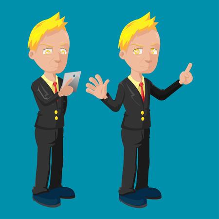old business man: Old Business Man Cartoon Cute Vector