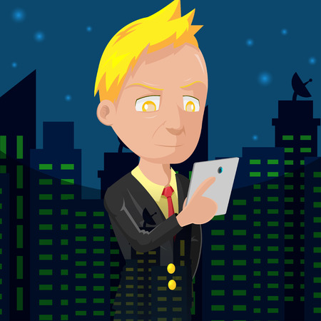 old business man: Old Business Man City Night Vector