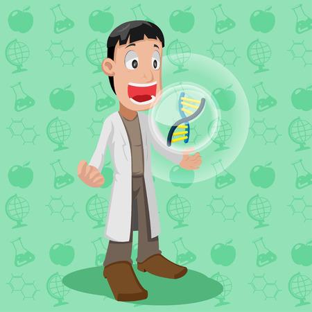 chromosome: Scientist Cartoon Character Cute Chromosome Vector