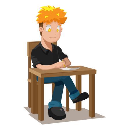 writing chair: Man Writing Table Thinking Idea Vector