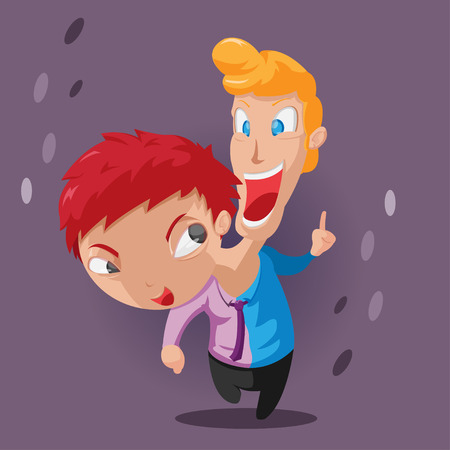 two minds: Two Head Twin Character Design Vector Illustration