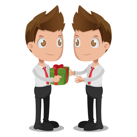 oneself: Man Give Gift Oneself Cartoon Vector Illustration