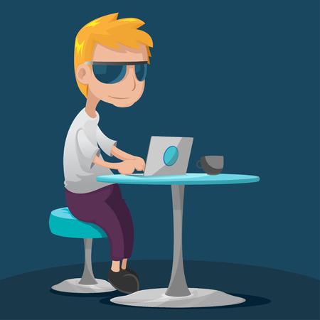 man with laptop: Creative Teen Man Work Laptop Vector