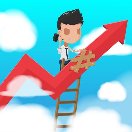 fixed: Man Worker Climbing  ladder Fixed Vector