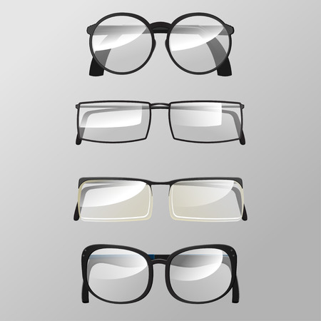 eye glasses: Eye Glasses Graphic Design Set Vector Illustration