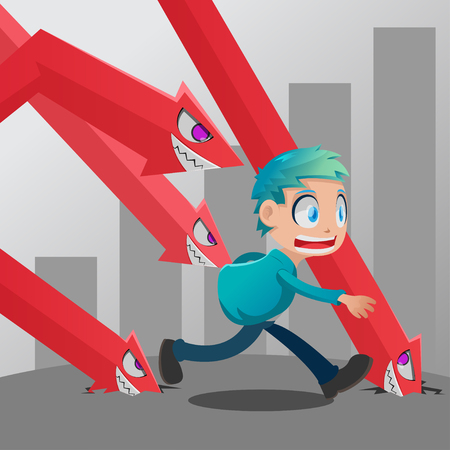 Man Run Stock Market Monster Down Vector
