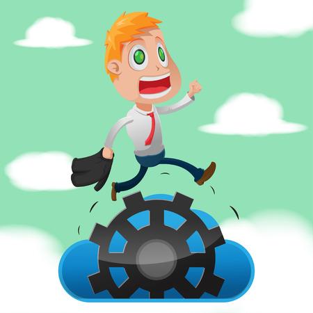 Business Man Run Cloud Gear Vector Ilustração Vetorial